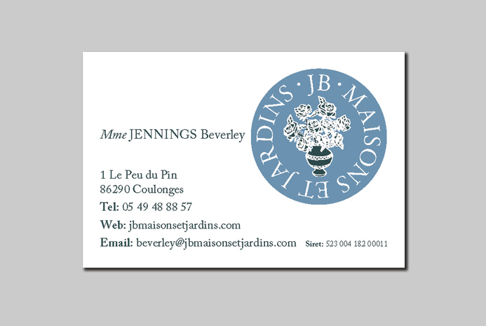 business card designed and illustrated by mike keane for jb maisons et jardins