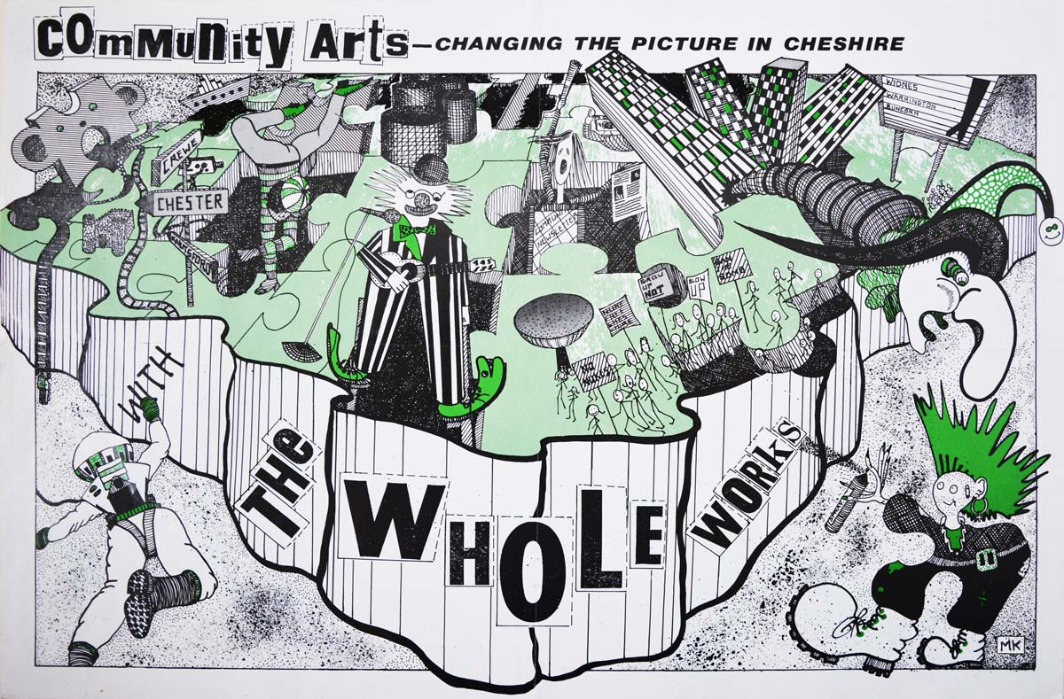a leaflet which illustrates the Whole Works are a fun community arts company in Cheshire