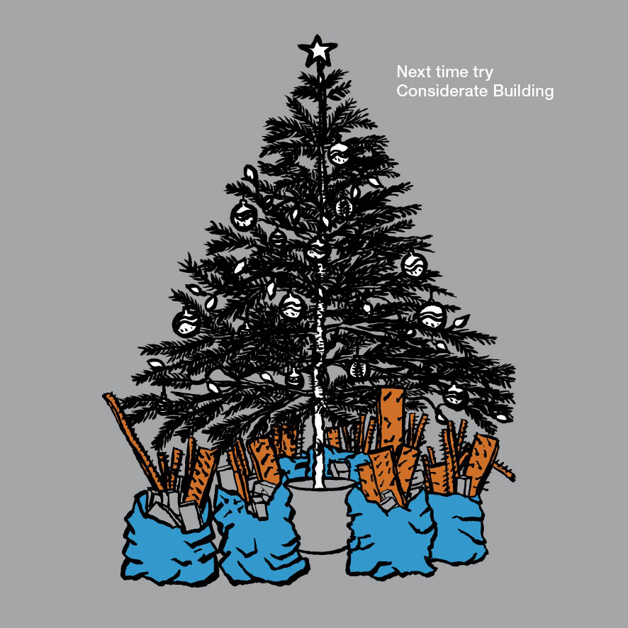 pen and ink illustration coloured in photoshop of a bag of builder's rubble under a christmas tree