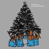 pen and ink illustration coloured in photoshop of a christmas tree with builder's rubbish bags underneath it