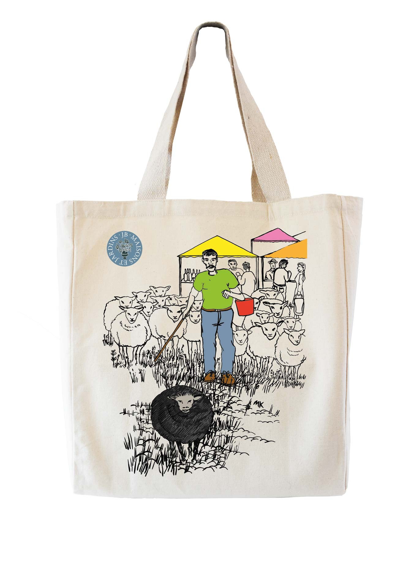 pen and ink illustration of sheep for for a tote bag
