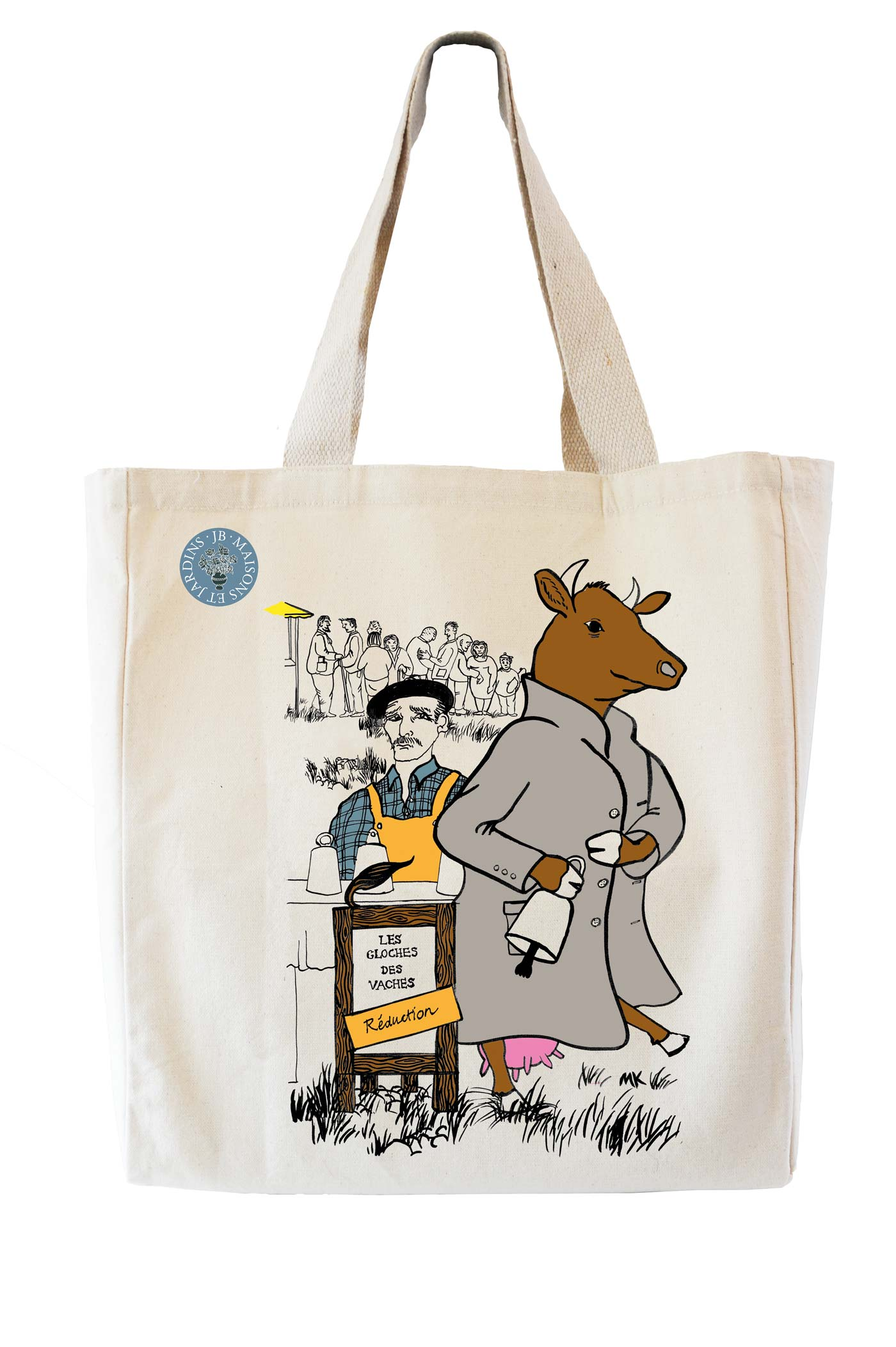 Illustration of a cow for a tote bag design