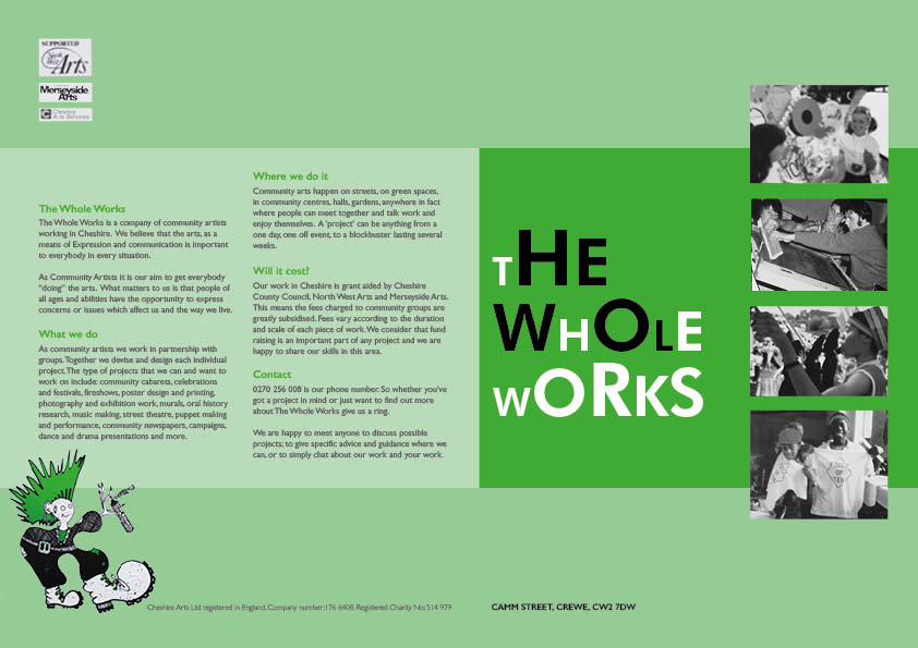 Foldout leaflet designed and illustrated for a community arts company